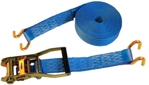 sangle d 39 arrimage 6t 12m bleue avec tendeur cliquet 2 crochets doubles. Black Bedroom Furniture Sets. Home Design Ideas
